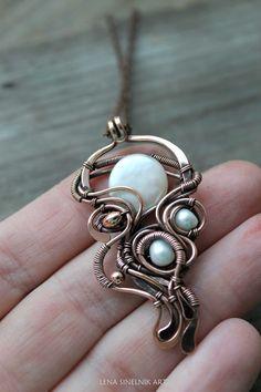 Pearls pendant Wire wrapped jewelry Wire wrap by LenaSinelnikArt