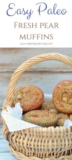 Easy paleo pear and cinnamon muffins. How to make grain free muffins. Easy gluten free pear muffin recipe.