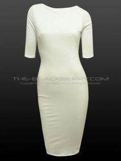 Off White Secretary Wiggle Pencil Pinup Dress