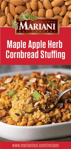 Add sausage or keep this apple almond stuffing vegetarian as shown here. Not just for Thanksgiving, this stuffing is a great side to serve with chicken breasts. Turkey Stuffing Recipes, Stuffing Recipes For Thanksgiving, Herb Stuffing, Thanksgiving Feast, Fall Recipes, Holiday Recipes, Main Dishes, Side Dishes, Swedish Traditions