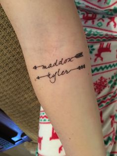 Arrow tattoo with my baby's names