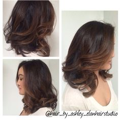 Chocolate brunette with toffee balayage highlights