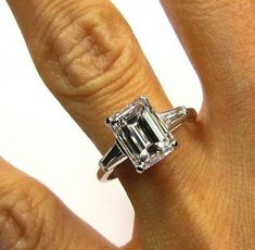 Anniversary Jewelry Estate Vintage Emerald Cut Diamond EGL USA with 2 Baguettes Engagement Wedding Anniversary Ringin Cool Wedding Rings, Wedding Rings Solitaire, Wedding Rings Vintage, Vintage Engagement Rings, Diamond Engagement Rings, Wedding Jewelry, Diamond Rings, Solitaire Diamond, Ruby Rings