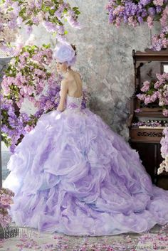 lavender poofy ball gown with lilacs :)
