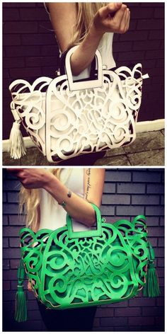Laser Cut Bags New In!! http://www.pretaportobello.com/ green one please....