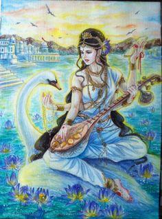 Saraswati- Goddess of knowledge and music Saraswati Mata, Saraswati Goddess, Goddess Art, Durga, Shiva Art, Krishna Art, Hindu Art, Saraswati Painting, Save Water Poster Drawing