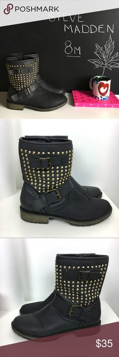 "Steve Madden Studded Bootie Steve Madden Studded Metalz Bootie. Excellent Condition has faint marking on front (shown) otherwise good clean condition. Man Made Materials.  Footbed Measures Approx 9.5"" Shaft 7.25""   👍OFFERS Welcome 🚫no trades pls Steve Madden Shoes Ankle Boots & Booties"