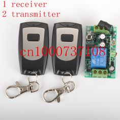 Free shipping 12V 1ch Wireless Remote Control Switch System Receiver & 2 Transmitter control light/door switch z-wave