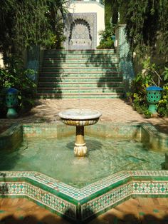 Moroccan courtyard with a fountain