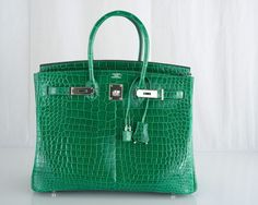 Hermes Vert Emeraud Porosus Crocodile 35cm Birkin Bag with Palladium Hardware $