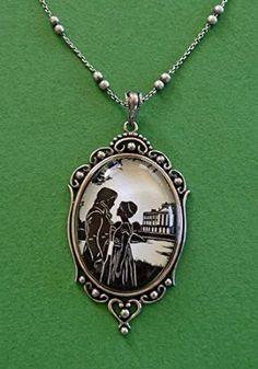 Amazon.com - PRIDE AND PREJUDICE Necklace, pendant on chain - Elizabeth and Darcy at Pemberley - Silhouette Jewelry // Coupon Code -