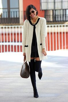 Winter white coat + Over the knee boots = Swoon