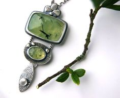 Reserved  The Glow of Life  Prehnite Sterling by MercuryOrchid, $81.00