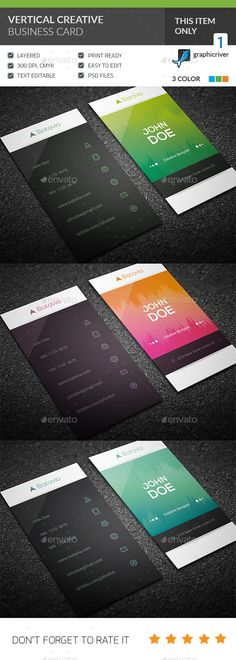 Vertical Creative Business Card - Creative Business Cards Download it now :https://graphicriver.net/item/vertical-creative-business-card/20624448?s_rank=111&ref=Kimich