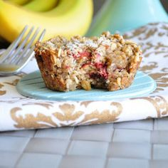 Strawberry Banana Baked Oatmeal |   Great before a workout!