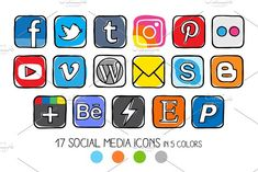 VECTOR - Guache Social Media Icons from Side Project on Creative Market Source by Web Banner Design, Business Brochure, Business Card Logo, Content Marketing, Social Media Marketing, Formation Photo, Most Popular Social Media, Computer Icon, Best Icons