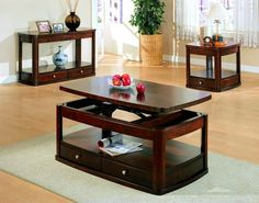 Casual Wood Lift Top Shelves Coffee Table Set