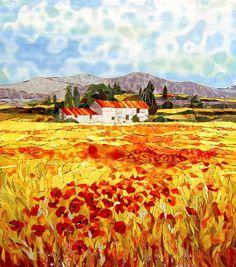Картина из мозаики Алые маки