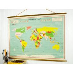 Map Vintage Style School World Poster by Ellie Ellie Map Vintage, Vintage Posters, Vintage World Maps, Retro Vintage, Vintage Style, Vintage Inspired, World Map Poster, World Map Wall, Wall Maps