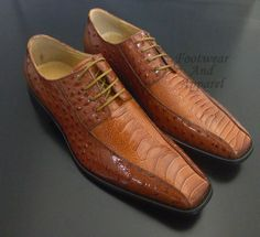 LA MILANO Men's Leather Croc Print Oxford Lace Up Dress Shoes A1043 Tan #Leather #Oxfords