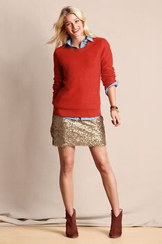 Red sweater, denim shirt, and gold sequin skirt