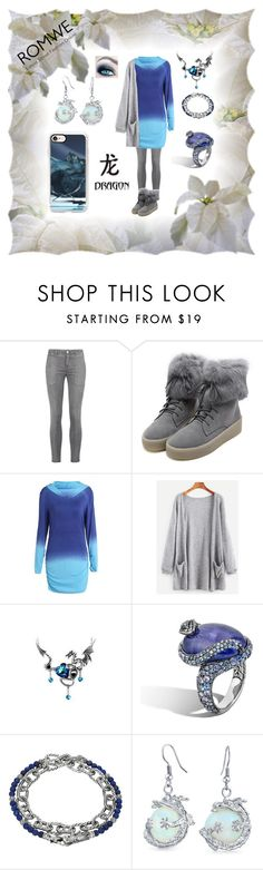 """""""Romwe Dragon"""" by pinky-dee ❤ liked on Polyvore featuring Current/Elliott, WithChic, John Hardy and Casetify"""