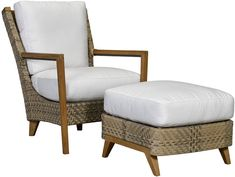Lane Venture Cote d'Azur #Ottoman. Handcrafted and custom manufactured ottoman. Solution dyed acrylic upholstery; teak frame. Fiber layers are wrapped in a durable polyethylene netting that promotes air flow while still maintaining a high degree of comfort. The outside decorative fabric casing features a sewn-in mesh button bottom that allows water to flow all the way through the cushion, mesh, and frame and allows for quick drying time.