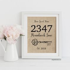 Custom Address Burlap Print, Canvas Print, Family Name Sign, Monogram Sign, Gallery Wall Decor, Personal Gift, Realtor Gift, Wedding Gift