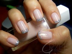 {gorgeous pink and glitter french tip manicure}
