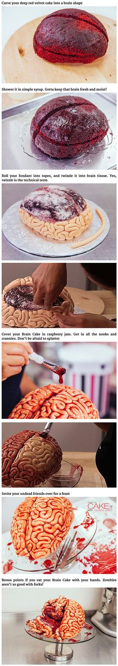 to make a red velvet brain cake for Halloween.How to make a red velvet brain cake for Halloween. Bolo Halloween, Halloween Torte, Halloween Baking, Halloween Goodies, Halloween Food For Party, Halloween Desserts, Spooky Halloween, Halloween Treats, Zombie Party