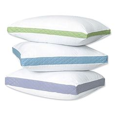 Gusseted bed pillows have a sateen cotton cover. polyester fiber fill and quilted side walls. Medium for stomach sleepers, Firm for back sleepers & Extra Firm for side sleepers. Pillow Shams, Bed Pillows, Pillow Cases, Coastal Colors, Sewing Pillows, Side Wall, Cozy Bedroom, Accent Colors, Baby Room