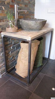 Badkamermeubel oud steigerhout mozaïek met stalen buisframe (2392014)