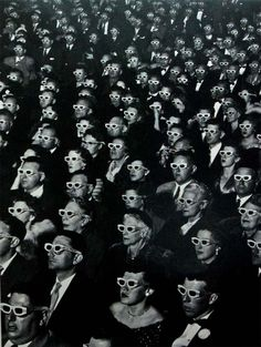 1950s Iconic Photographs Snapped for LIFE magazine, this December 1952 photograph shows the advancement in cinematic technology with American audiences enjoying the opening night of the first full-length American 3-D feature film, Bwana Devil.