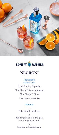 Negroni | A step-by-step guide to creating a Negroni with Bombay Sapphire | 25ml Bombay Sapphire | 25ml Martini Rosso Vermouth | 25ml Martini Bitter | Orange zest to garnish