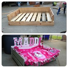 DIY Pallet Dog Bed lots of labor but completed under 20 bucks! Will be used for outside to keep dogs off the floor!