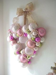 Valentines Day Wreath made out of Christmas ornaments.