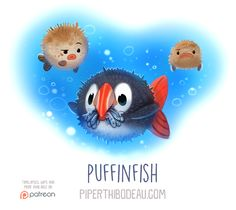 Daily Paint 1560. Puffinfish by Cryptid-Creations on DeviantArt