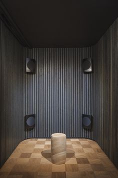 Sound room in Mejlborg Basement at the Dinesen showroom in Aarhus. Metal Daybed, Sound Room, Veneer Panels, Interior Architecture, Interior Design, The Doors, Interesting Buildings, Bespoke Kitchens, Basement Flooring