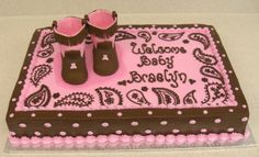 Paisley print baby shower - 12x18 cake, iced in BC, 50/50 baby booties