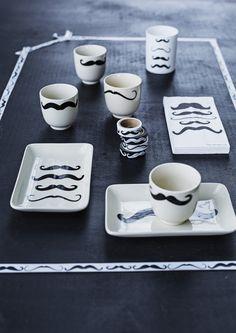 Moustache tea and coffee set.