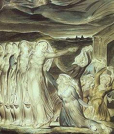 The Parable of the Wise and Foolish Virgins by William Blake, Tate Gallery. Claude Monet, Harry Clarke, William Blake Art, Lucas 8, Vincent Van Gogh, English Poets, Tate Gallery, Kay Nielsen, Evening Prayer