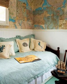 Decoration:World Map Patchwork Home Decorating Ideas Room Luxury House Interior Wall Paint Wallpaper Wonderful Ideas to Decorate Your Home with Patchwork Walls Elle Decor, Map Wallpaper, Luxury Homes Interior, Cottage Homes, Beach House Decor, My New Room, Boy Room, Child's Room, Decorating Your Home