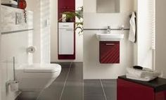 Architecture Designs, Beautiful Modern Bathroom Color Schemes With Red And White Nuance Also Knockout Grey Granite Floor Plan: Fancy Contemporary Bathroom Color Schemes For Cozy Looks Best Bathroom Flooring, Small Bathroom Tiles, Bathroom Red, Bathroom Tile Designs, Bathroom Design Luxury, Modern Bathroom Design, Bathroom Ideas, Paint Bathroom, Tile Flooring