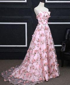 Floral Prom Dresses, Elegant Party Dresses, A Line Prom Dresses, Ball Dresses, Pretty Dresses, Ball Gowns, Pink Dresses, Dress Prom, Wedding Dresses