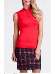"Tail City Sleek Women's 18"" Pull On Houndstooth Print Golf Skort-Red,Black"