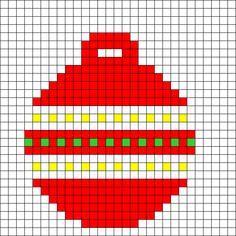 Bauble 1 by Tashar_h on Kandi Patterns Plastic Canvas Ornaments, Plastic Canvas Christmas, Plastic Canvas Patterns, Kandi Patterns, Hama Beads Patterns, Beading Patterns, Xmas Cross Stitch, Cross Stitching, Cross Stitch Patterns