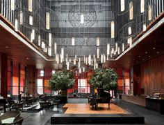 Xian Westin Museum Hotel:   Neri Design and Research Office:   Xian, China:   One of the atria serves as a café and lounge.