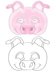 We've created a black and white Pig mask and colored Pig mask, choose your preference. Then cut all around, cut holes for the eyes, and punch a smal...