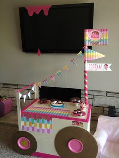 cardboard box ice cream cart - or this could be an adorable way to have a lemonade stand at a garage sale, etc