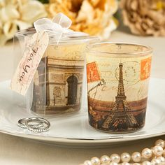 Parisian Themed Glass Votive Candle Holders (FashionCraft 5475) | Buy at Wedding Favors Unlimited (http://www.weddingfavorsunlimited.com/parisian_themed_glass_votive_candle_holders.html).